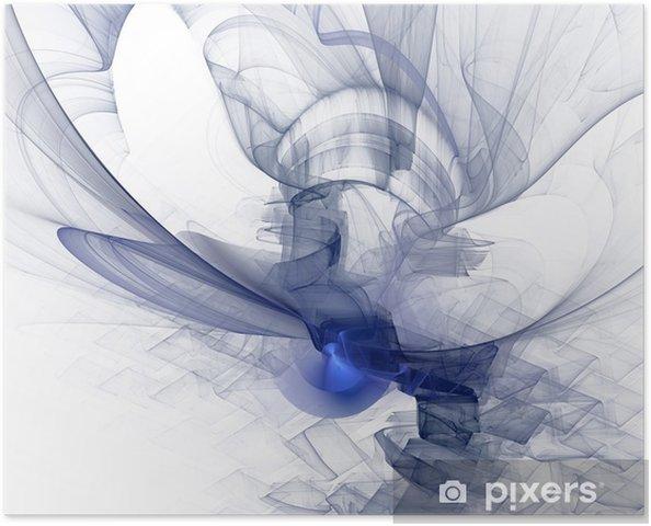 Plakat Wygenerowane komputerowo grafiki. Niebieski i szary palety. - Tła