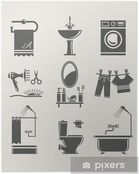 Plakat Wyposażenie łazienki Zestaw Icon Wektor