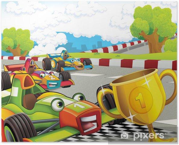 Plakat Wyścig formuły - super samochód - ilustracja dla dzieci - Tematy