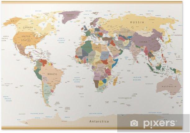 Plakat Wysoce Szczegółowe polityczne Mapa świata Vintage Kolory - Tematy