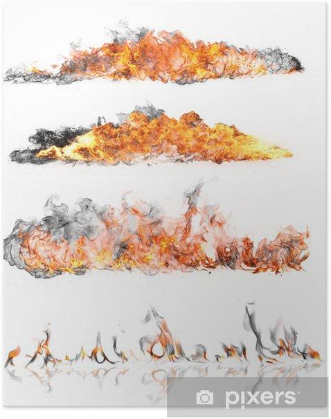Plakat Wysoka kolekcja ogień rozdzielczość, izolowane na białym tle - Tekstury