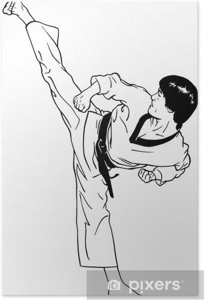 Plakat Wysokie, idealne kopnięcie boczne (taekwondo) - Sporty ekstremalne