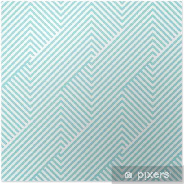 Plakat Wzór Chevron bezszwowe zielone aqua i białe kolory. Deseń projektu mody bezszwowych. Geometryczne paski abstrakcyjne tła wektora. - Zasoby graficzne