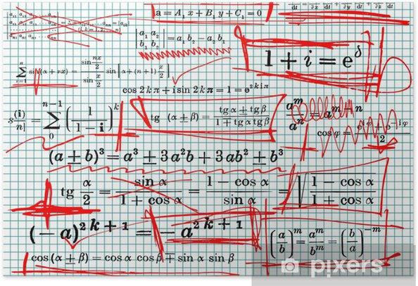 Plakat Wzór matematyki i czerwone krzywe - ilustracji wektorowych - Edukacja