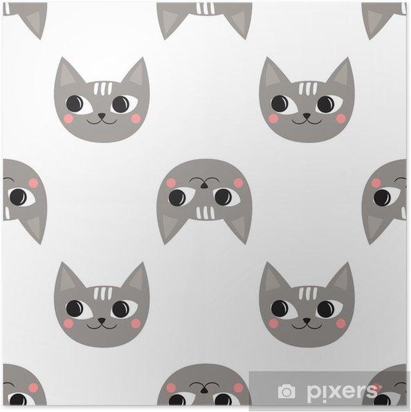 Plakat Wzór Słodkie Koty Na Wakacje Dla Dzieci Tło Wektor Prysznic Dla Dzieci Dziecko Rysunek Styl Kotek Projekt Do Druku Na Ubraniach Dla Dzieci
