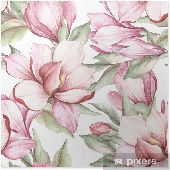 Plakat Wzór z kwitnących magnolii. akwarela ilustracja - Rośliny i kwiaty
