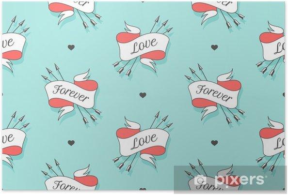 Plakat Wzór z miłością słowa i na zawsze na Walentynki, dzień kochanków lub wesele. ręcznie rysowane projekt w miłości tematu do pakowania papieru, opakowania, tapety, tło. ilustracji wektorowych - Religia i kultura