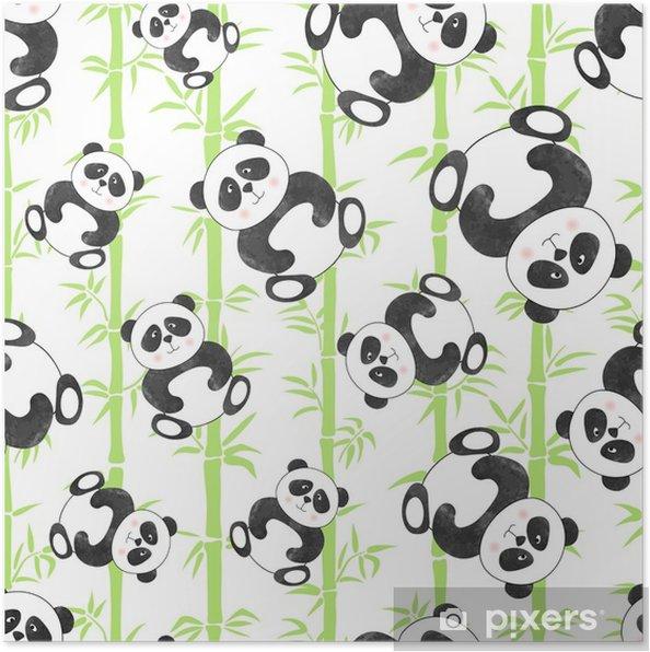 Plakat Wzór z niedźwiedzi panda kreskówka i bambusa. ilustracji wektorowych. - Zwierzęta