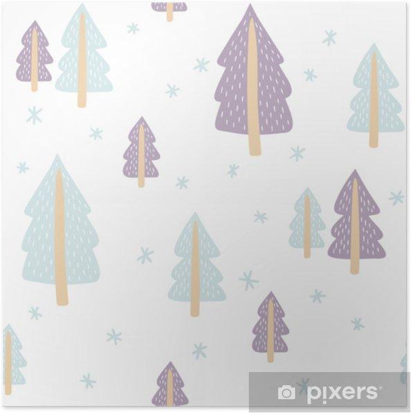 Plakat Wzór Z Słodkie Choinki Na Białym Tle Szablon Wektor Nadaje Się Do Druku Na świąteczne Tekstylia Papier Pakowy Pościel