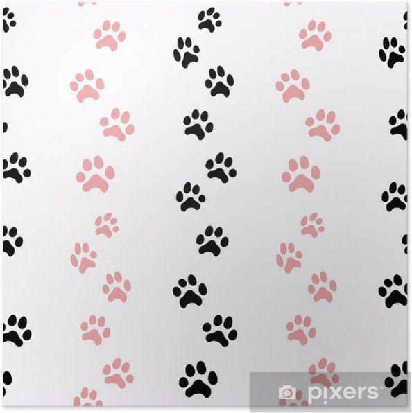 Plakat Wzór ze śladami kota - Zasoby graficzne