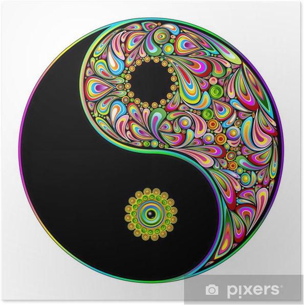 Plakat Yin yang symbol sztuki psychodeliczny projekt-simbolo psichedelico - Naklejki na ścianę