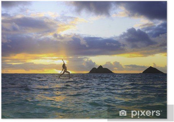 Plakat Yoga sunrise on paddleboard - Wakacje