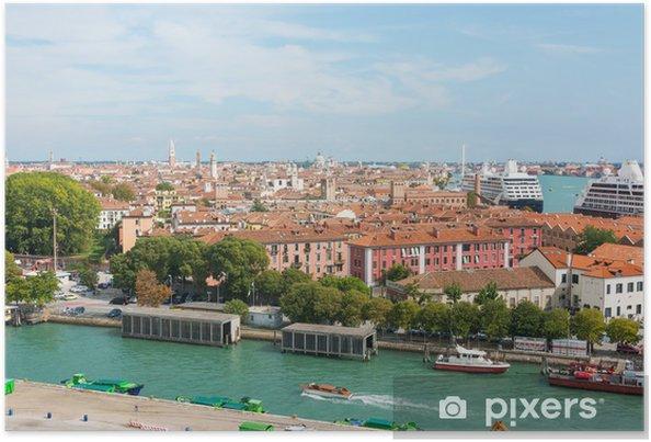Plakat Z widokiem na port morski w Wenecji - Pejzaż miejski