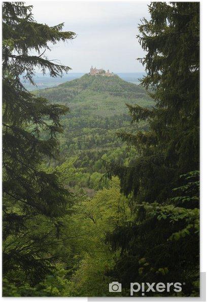 Plakat Z widokiem na Zamek Hohenzollernów w wiosnę (przez las) - Tematy
