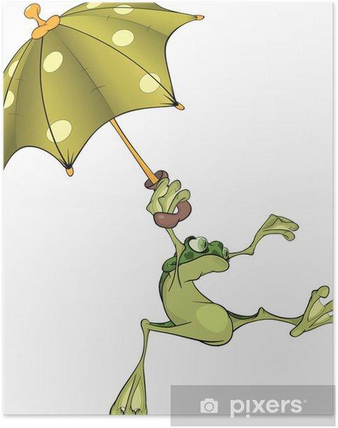 Plakát Žába s deštníkem. Karikatura - Doplňky
