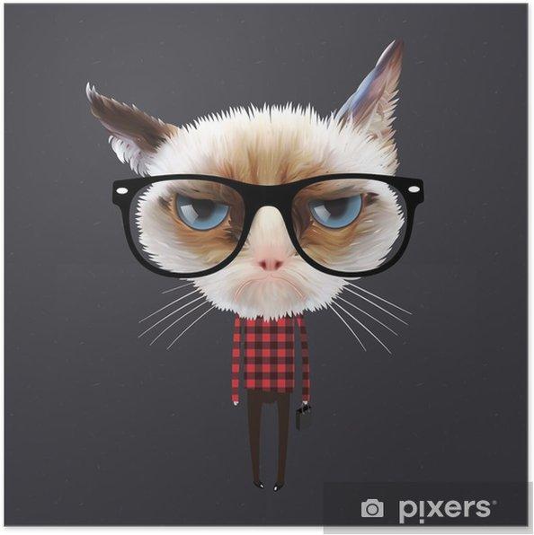 Plakat Zabawny kot kreskówki, wektor eps10 ilustracji. - Przeznaczenia