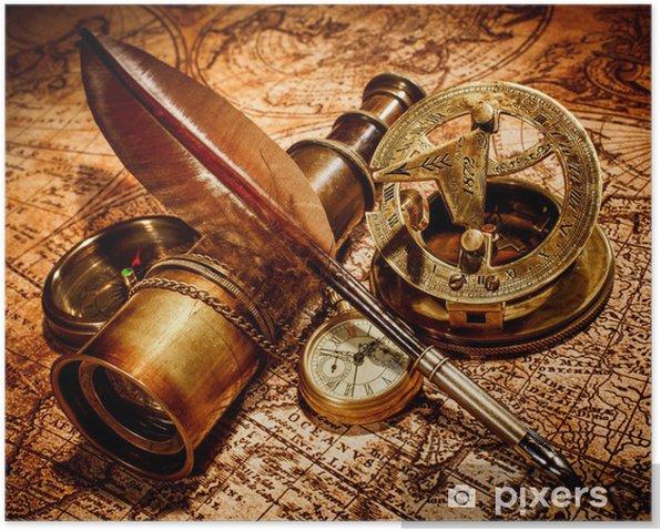 Plakat Zabytkowe elementy na mapie starożytnego. - Tematy