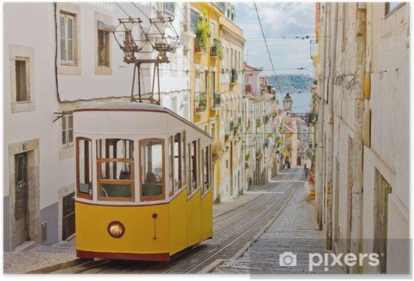 Plakat Zabytkowy tramwaj na uliczce w Lizbonie - Tematy