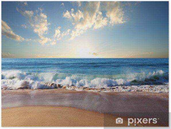 Plakat Zachód słońca na plaży - Natura