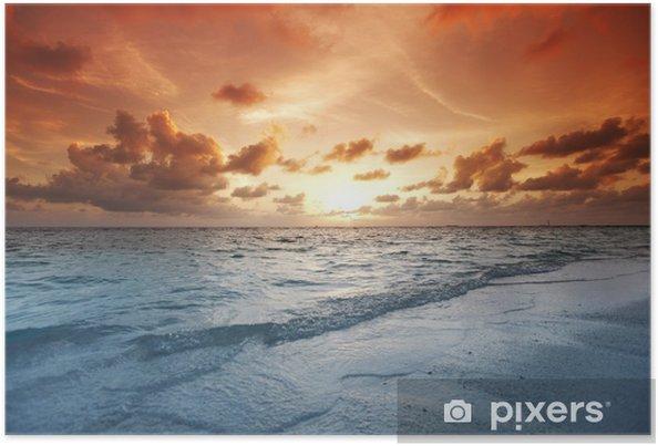 Plakat Zachód słońca na plaży - Wakacje