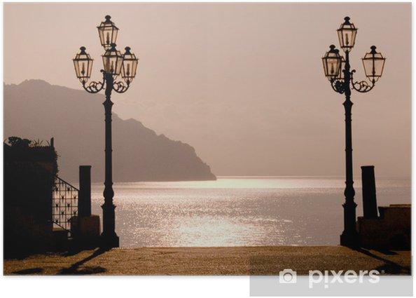 Plakat Zachód słońca na wybrzeżu Amalfi - Wakacje