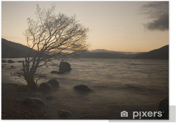 Plakat Zachód słońca nad Loch Ness - Europa
