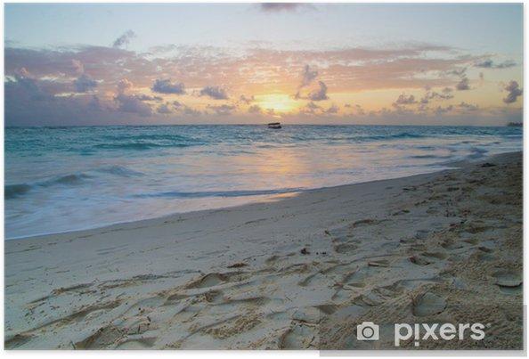 Plakat Zachód słońca nad morzem - Woda