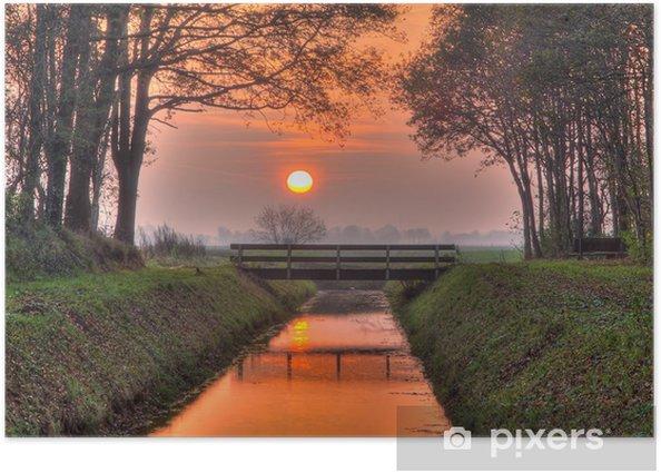 Plakat Zachód słońca nad mostem - Miasta europejskie