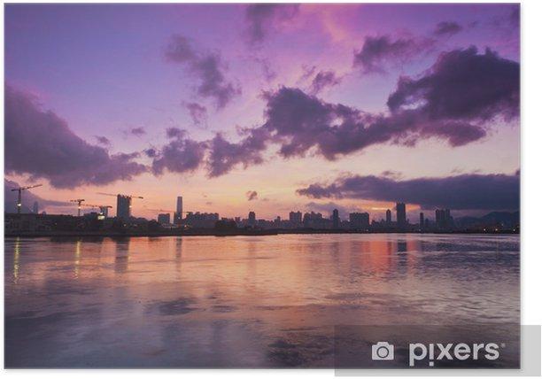 Plakat Zachód słońca w centrum Hong Kongu - Pejzaż miejski