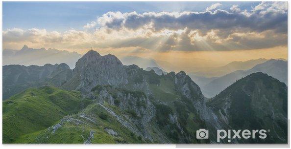 Plakat Zachód słońca w górach - Europa