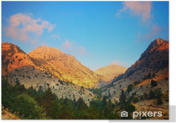 Plakat Zachód słońca w górach. - Niebo