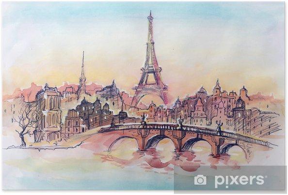 Plakat Zachód słońca w Paryżu - Tematy
