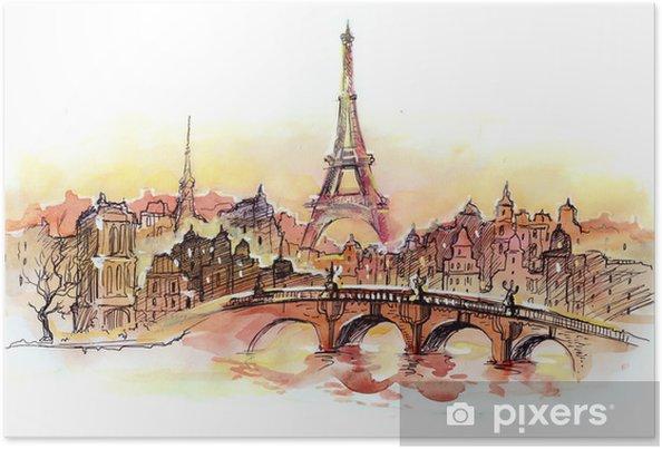 Plakat Zachód słońca w Paryżu - Naklejki na ścianę