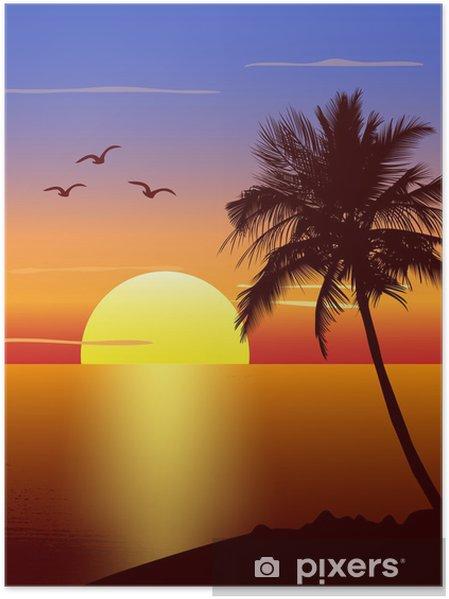Plakat Zachód słońca z sylweta palmtree - Niebo