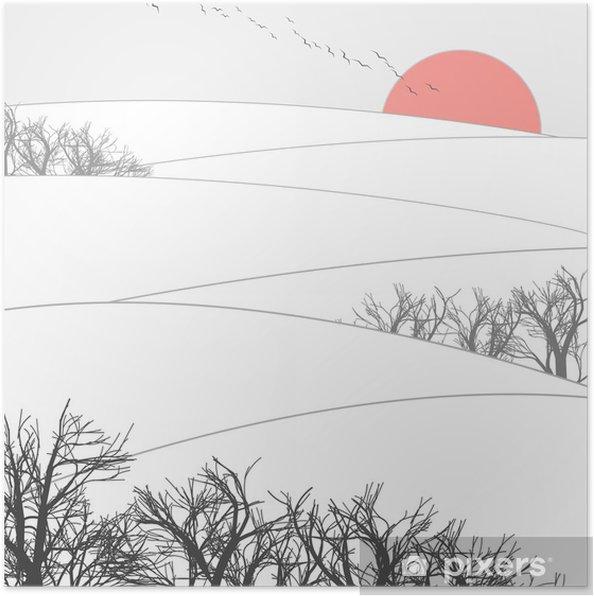 Plakat Zachód słońca zima - iStaging 2