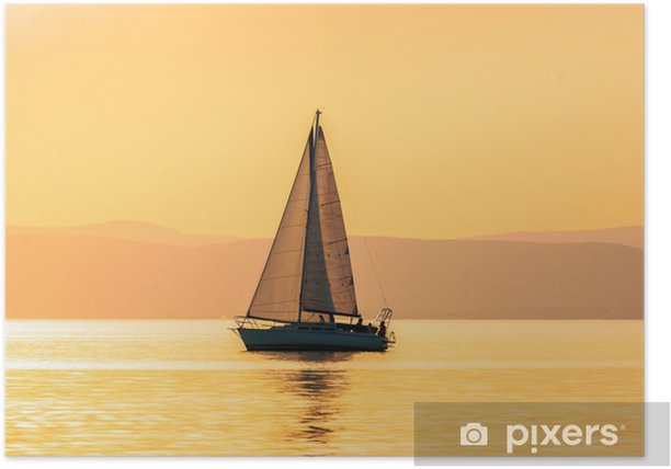 Plakat Żaglówki z pięknym zachodem słońca - Sporty wodne