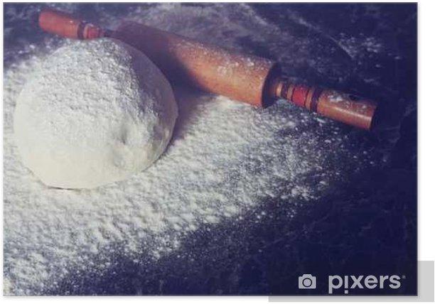Plakat Zagnieść ciasto z mąki stonowanych - Jedzenie