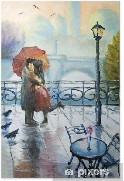 Plakat Zakochana para w deszczu - Do kawiarni