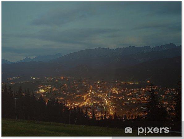 Plakát Zakopane v noci, Polsko. - Evropa
