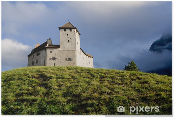 Plakát Zámek v Balzers, Lichtenštejnsko, dopadající na krásný východ slunce - Evropa