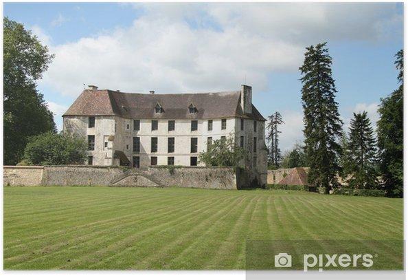 Plakat Zamek w Normandii Francji Park i trawnik z przodu - Zabytki