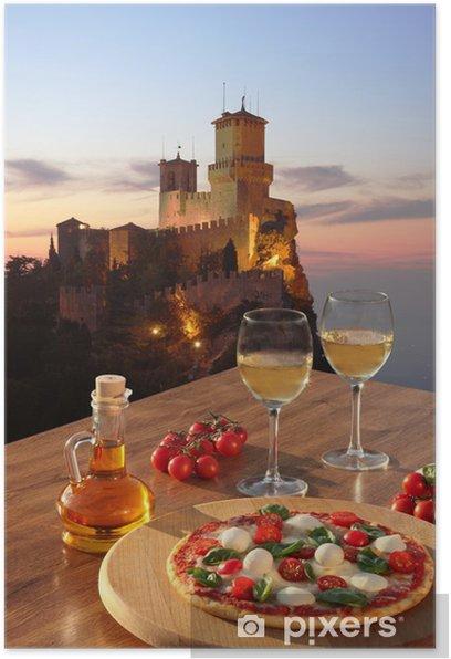Plakat Zamek z San Marino włoskiej pizzy we Włoszech - Tematy