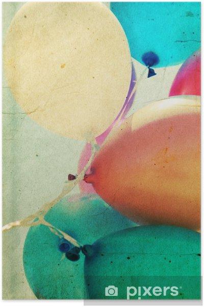 Plakat Zamknąć się z kolorowych balonów - Uczucia i emocje