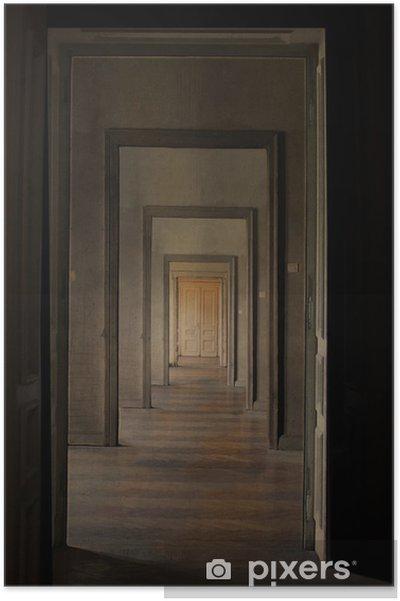 Plakat Zamknięte Drzwi W Końcu Korytarza Obrzędu Koncepcji Przejścia