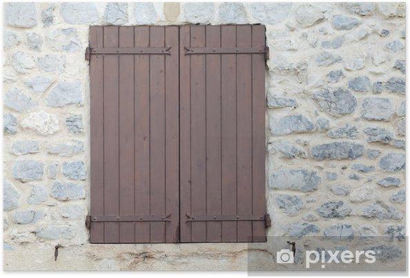 Plakat Zamknięte okiennice na kamiennym tle. Francja. - Europa