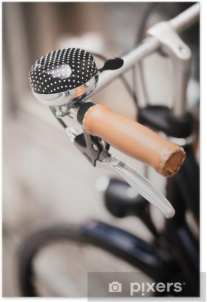 Plakat Zamknij się z dzwonka rowerowego. Shallow głębi ostrości. - Transport drogowy
