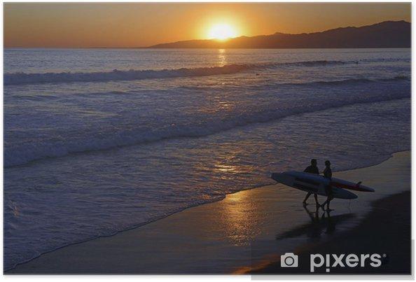 Plakát Západ slunce a Surf přes oceán na pláži - Témata