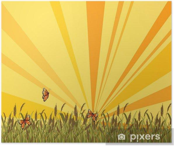 Plakát Západ slunce krajina na vrcholu kopce - Pozadí