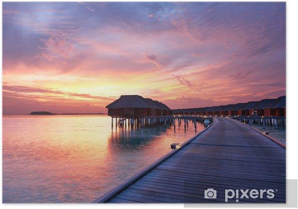 Plakát Západ slunce na maledivské pláži - Nebe
