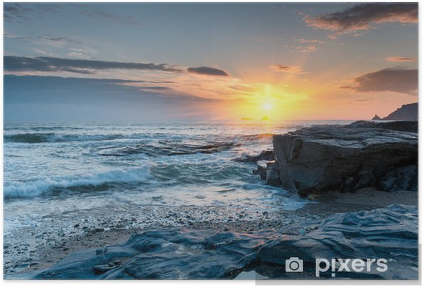 Plakát Západ slunce na pláži Cornish - Témata